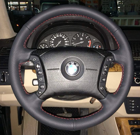 Black Artificial Leather Car Steering Wheel Cover For Bmw