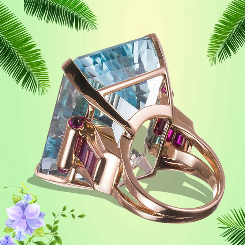 Big Blue CZ Cubic Zircon Stone Rose Gold Color Rings for Women Fashion Jewelry Valentines Day ...