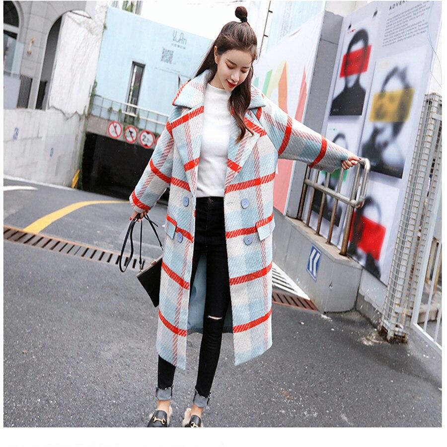 Épaississement Manteau Hiver Grande De Femmes Longue 2018 Rétro Et Taille  Coréenne Nouveau Automne Laine Plaid Uvw1pq6STx 616e82a26632