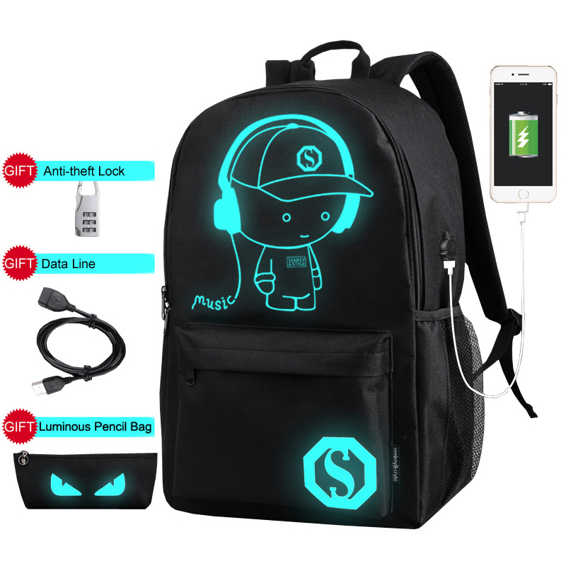 Luminous Anti Theft Backpacks Men USB Charge Canvas Backpack Boys Laptop School Bags for Teenage Girls Students Print Bag XA163C