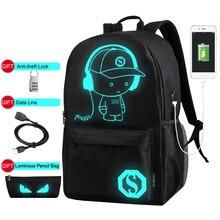 Luminous Anti Theft Backpacks Men USB Charge Canvas Backpack Boys Laptop School Bags for Teenage Girls Students Print Bag XA163C