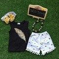 Meninas boutique de roupas de bebê Meninas roupas de Verão do bebê meninas pena roupas combinando com colar e tiara
