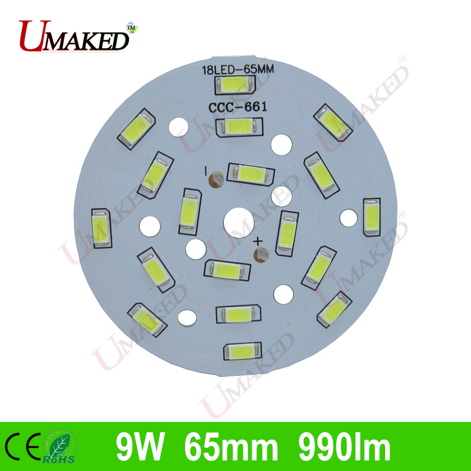 9W 65mm 990lm <font><b>LED</b></font> PCB with smd5730 chips installed, aluminum plate base for bulb light, ceiling light, <font><b>LED</b></font> lamps