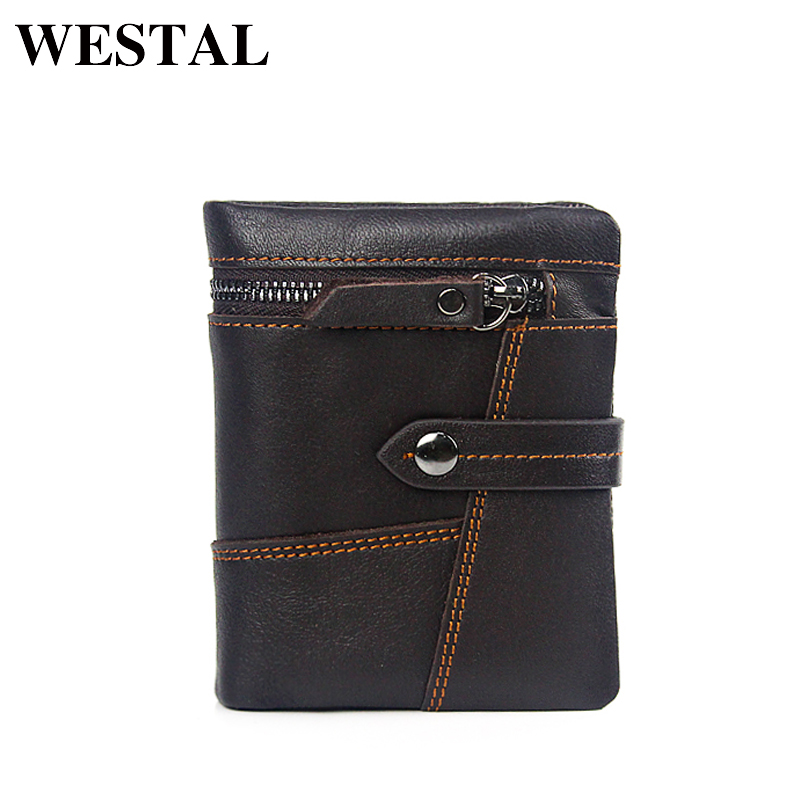 WESTAL Short Genuine Leather Men Wallets Leather Man Wallet Vintage Fashion Brand Man Coin Purse Mens Wallets Card Holder 8837 facial skin care vibration massager pore cleaner set 2 x aa