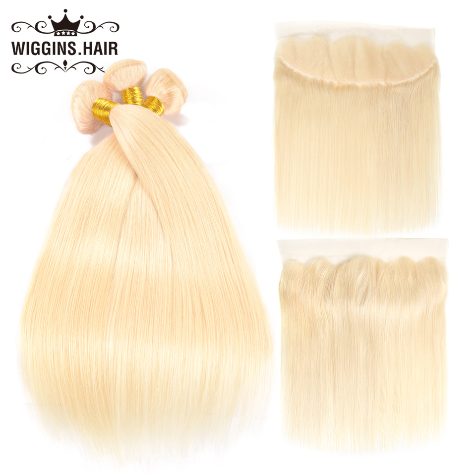 613 Blonde Bundles With Frontal Closure Peruvian Straight Hair 3 Bundles  Wiggins 100% Human Hair Remy Hair Extension
