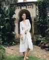 Las mujeres de bohemia floral del cordón del ganchillo maxi dress gorgeous olivia medio blanco see-through gitana abrigo maxi dress holiday party dress