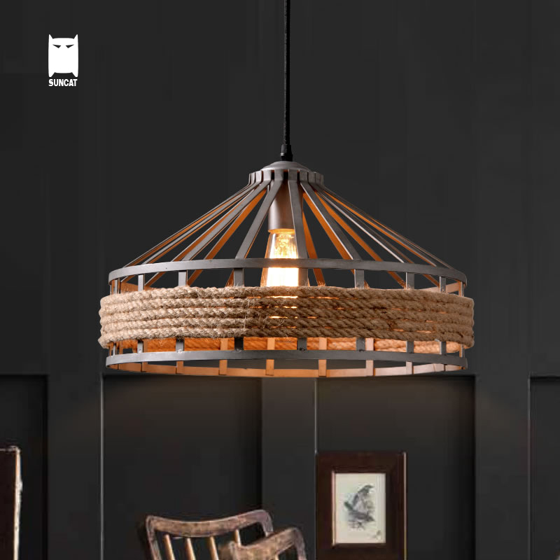 Iron Hemp Rope Pendant Light Fixture Loft Retro Vintage Industrial Antique Hanging Lamp Luminaria Indoor Home Dining Table Room nordic retro loft led pendant light vintage hemp rope lamp industrial glass iron hanging home fixtures for bar restaurant cafe