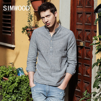 SIMWOOD 2017 Spring New Arrival Striped Casual Shirts Men Mandarin Collar Cotton And Linen Slim Fit