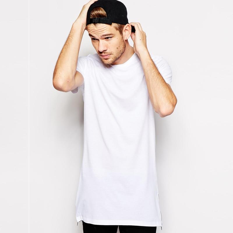cotton 100% hip hop side zipper long t shirt fashion design longline  t-shirt men tall tshirt top tees ca9e1936442