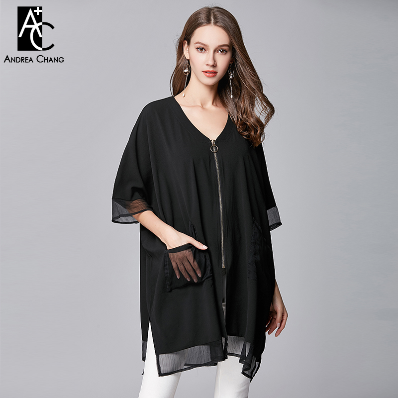 Women's Clothing Knowledgeable Plus Size Woman Blousel-5xl High Quality Summer Spring Shirt Blouse V-neck Zipper Pockets Casual Loose Long Black Shirt Blouse