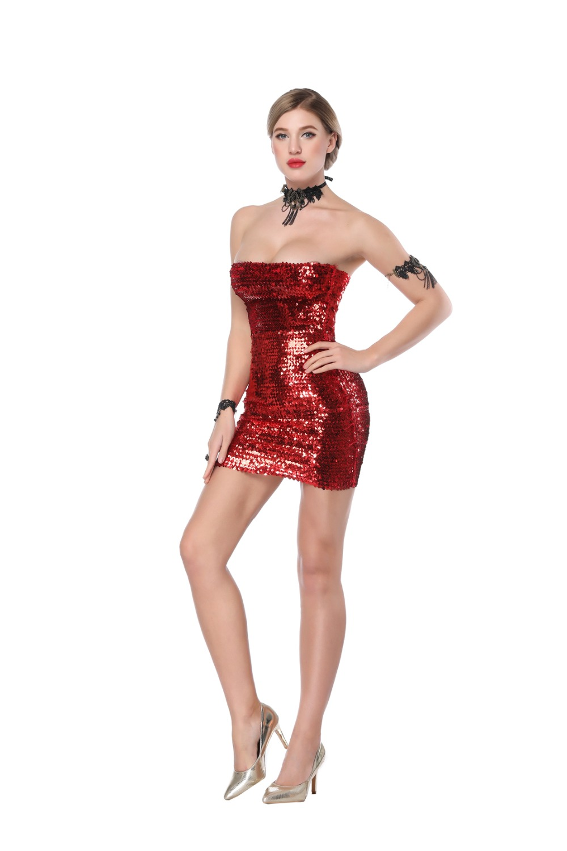 Sequin Dress Hight Waist Strap Sheath Tight Sexy Dress Women Party Night Club Sexy Dress Wrapped Chest Sleeveless Mini Dress