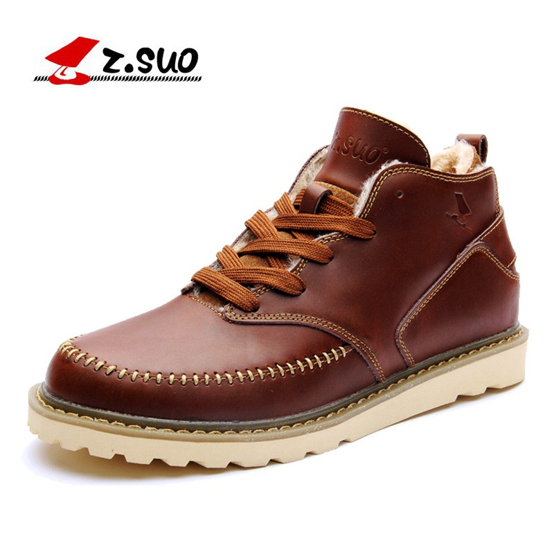 Z SUO 100 Cow Split Leather Upper Rubber Outsole Men s Ankle font b Boots b