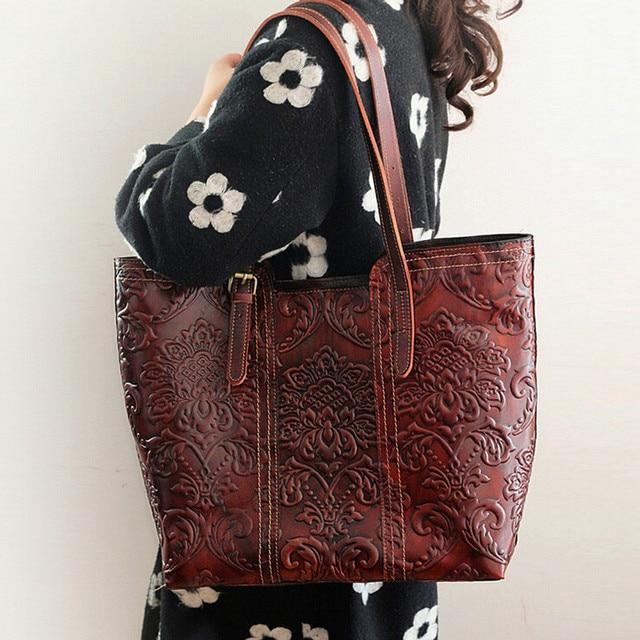 High Quality Genuine Leather Handmade Vintage Women Single One Shoulder Bag Engraving Flower Embossed Design Ladies Tote Handbag