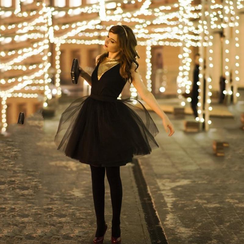 Mode 5 Schichten 60 cm Mode Tüll Rock Plissee TUTU Röcke Womens Lolita Petticoat Brautjungfern Midi Rock Jupe Saias faldas