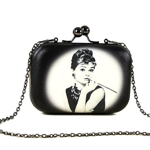 2016 Women Evening Bag Fashion Mini Clutch Bags Chain Handbag Printing Party Clutches Bags Wallet Vintage Clutch Purse 22 Colors