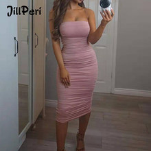 Jillperi mulheres ruched outfit alta estiramento 2 camadas sólido club wear rua vestido de festa algodão sem mangas sexy vestido midi