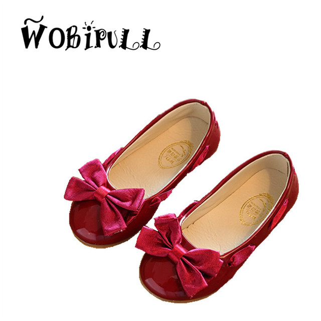 WOBIPULL 2017 silk cloth bow-knot sweet Princess kids Shoes bule Banquet Dance Girls leather shoes Elsa style shoes for Girls