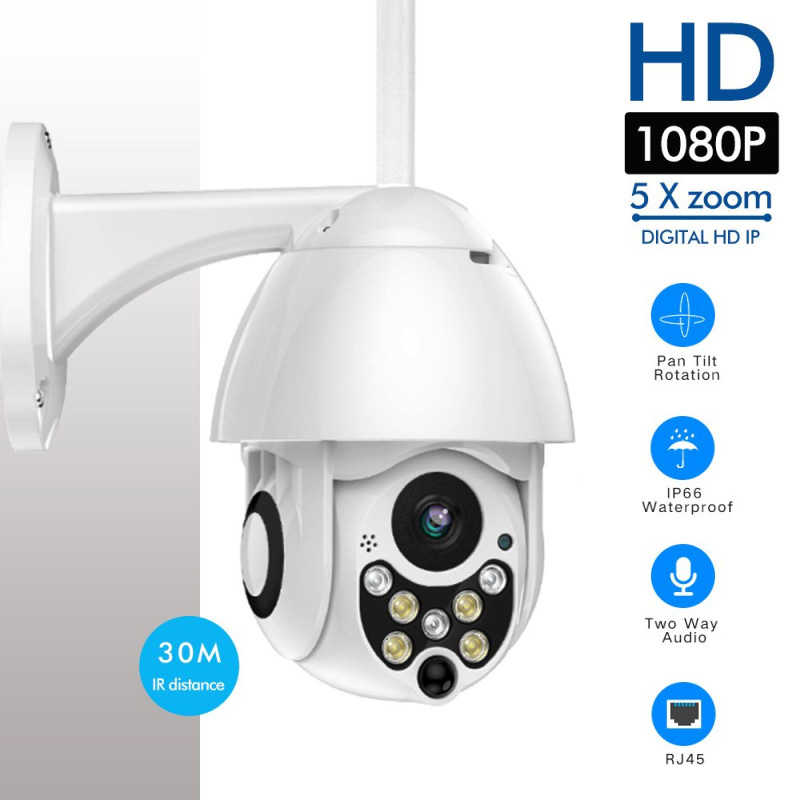 1080 P 7LED PTZ Mini Wifi Kubah Luar Rumah Keamanan Kamera Ip Wireless HD 2MP CCTV ONVIF Air Malam Visi dengan TF Card