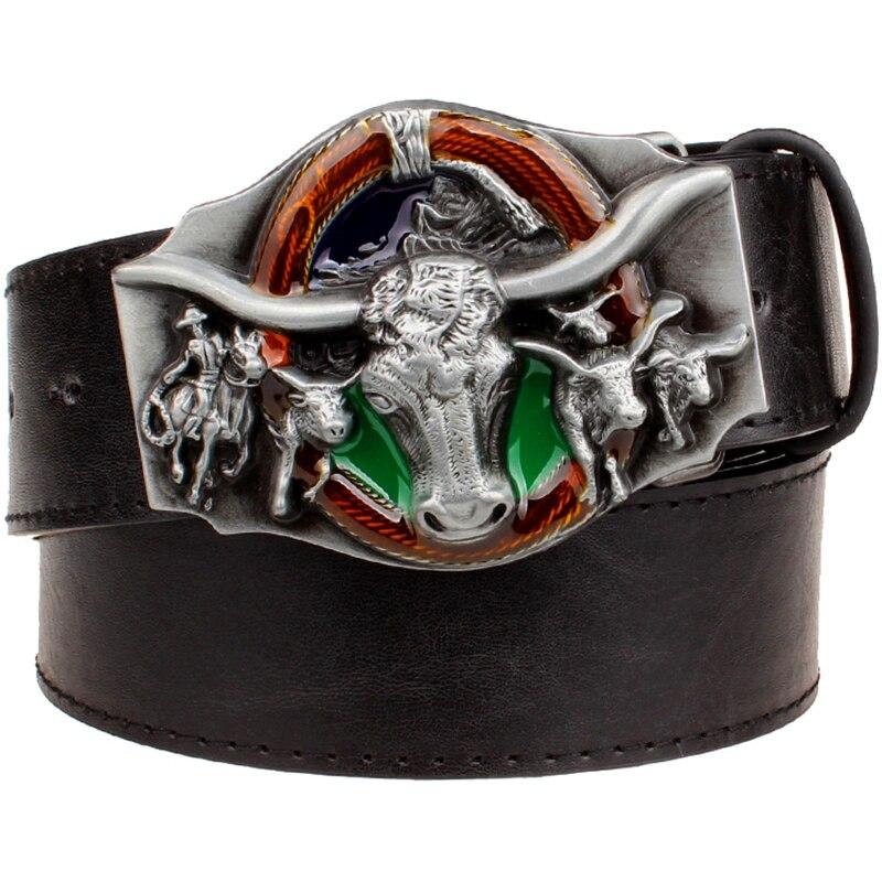 Ceinture cuir homme Western cowboy ceinture punk rock far west cowboy tête de taureau vache ceinture cuir boucle métal hip hop ceinture hommes cadeau