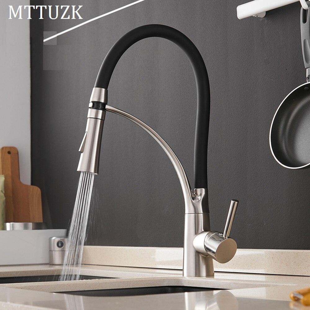MTTUZK Kitchen Mixer Sink Faucet Brass Brushed Nickel Torneira Tap Kitchen Faucets Hot Cold Deck Mounted
