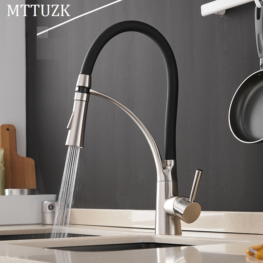 MTTUZK Kitchen Mixer Sink Faucet Brass Brushed Nickel Torneira Tap Kitchen Faucets Hot Cold Deck Mounted Black Bath Mixer Tap-in Kitchen Faucets from Home Improvement    1