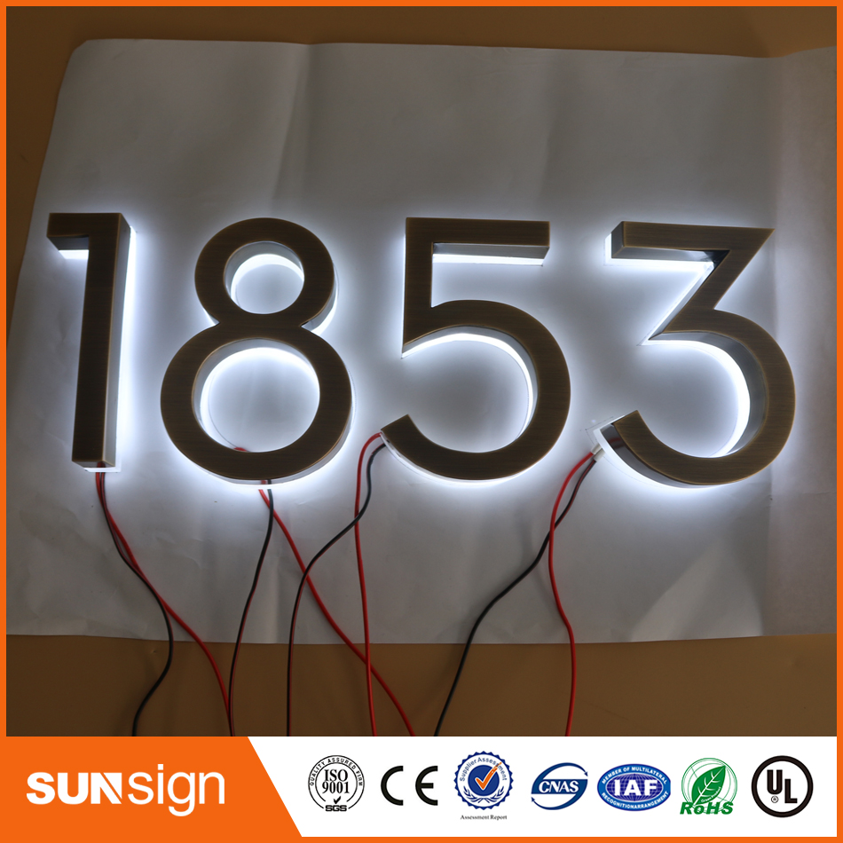 Factory Advertising Outlet Outdoor Stainless Steel Backlit Led Letter Sign