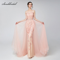 Robe De Soiree New Arrivals Long Elegant Luxury Blush Evening Dresses Tulle Beading Prom Gowns Actual Images LSX576