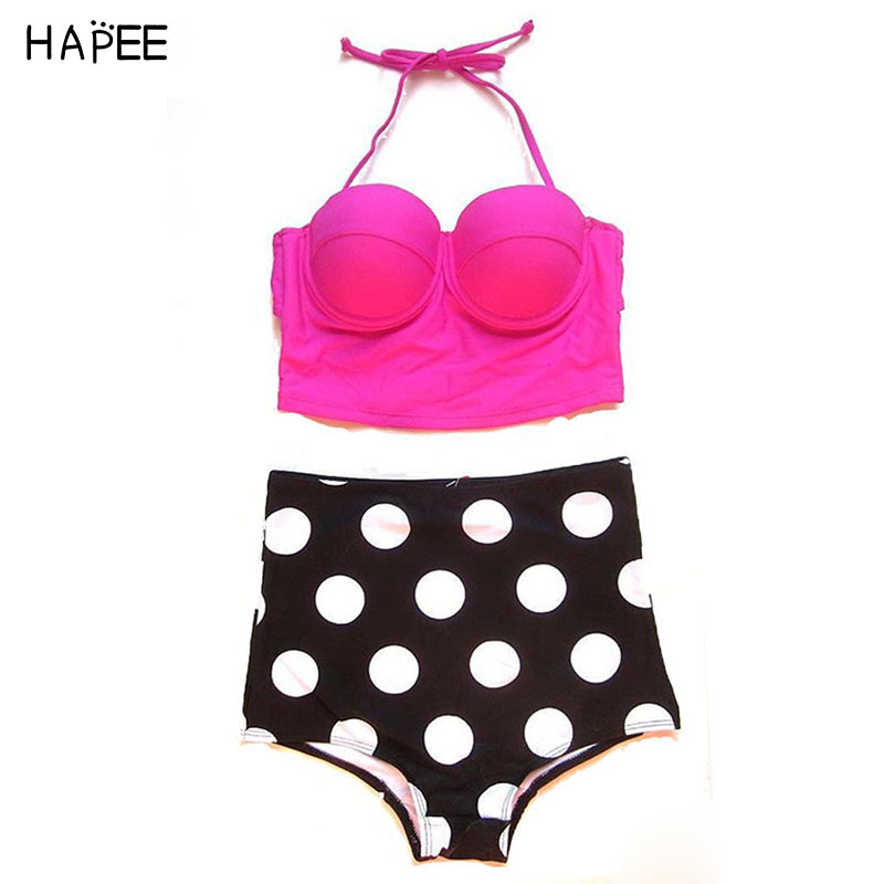 S-XXL bikini high waist swimsuit polka dot padded Push up bikini set with underwire pin up plus size swimwear biquini hot sale your gallery retro sexy high waist pin up bikini sets polka dot swimwear swimsuit