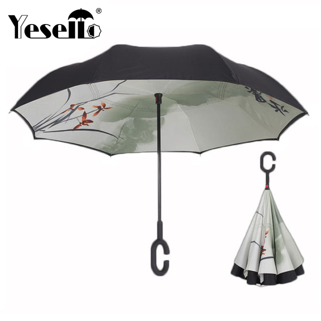 ff9f68d7858fc Yesello Chinese Inverted Umbrella Double Layer Windproof Reverse Umbrella  for Car and Outdoor Use