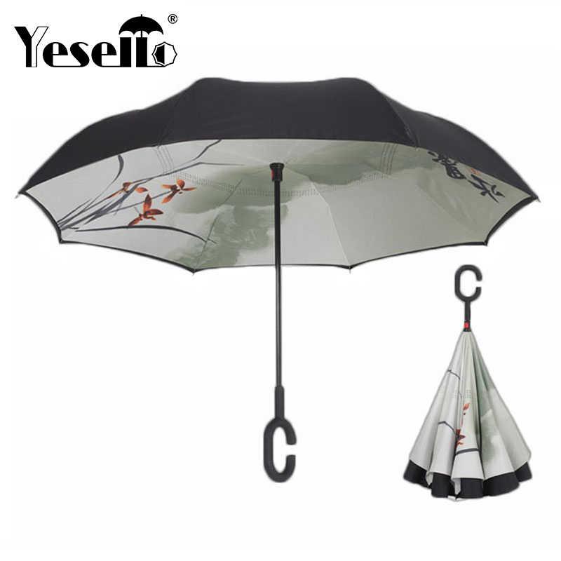 Yesello китайский перевернутый двухслойный зонтик ветронепроницаемый двухсторонний зонтик для автомобиля и наружного Применение