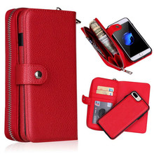Afneembare Rits Lederen Portemonnee Case Voor Samsung Galaxy S10 S10E S9 S8 S7 S6 Rand Plus Note 9 8 10 plus Multifunctionele Case