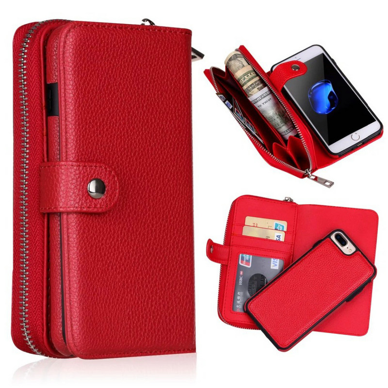 Detachable Zipper Leather Wallet <font><b>Case</b></font> For <font><b>Samsung</b></font> Galaxy S10 S10E S9 S8 S7 <font><b>S6</b></font> <font><b>Edge</b></font> Plus S4 Note 9 8 Multifunction Handbag <font><b>Case</b></font> image