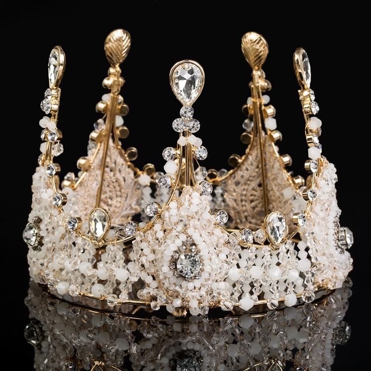 Idealway Luxury Jewelry Rhinestone Queen Crown Tiaras Princess Crown Headdress Wedding Bridal Gold Tiara Crown Hair