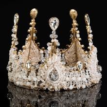 Idealway Роскошные Ювелирные Изделия Rhinestone Королева Корона Диадемы Princess Crown Головной Убор Свадебные Золото Тиара Корона Аксессуары Для Волос