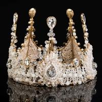 Idealway Luxury Jewelry Rhinestone Queen Crown Tiaras Princess Crown Headdress Wedding Bridal Gold Tiara Crown Hair Accessories