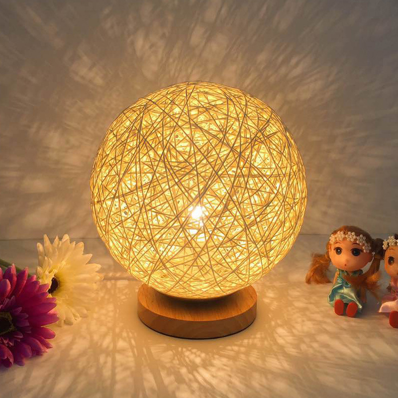 New unique creative bedroom night lamp bedside Sepak takraw E27     New unique creative bedroom night lamp bedside Sepak takraw E27 light  birthday gift home decorative rattan table lamp Wholesale in Night Lights  from Lights