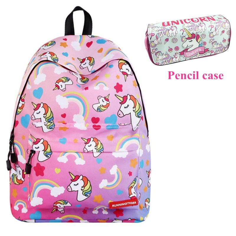 Unicórnio unicórnio Mochila Moda Feminina Saco Sacos de Escola para Adolescentes Meninas Travel Bag Para As Mulheres Mochila Mochila Saco UM Dos feminino