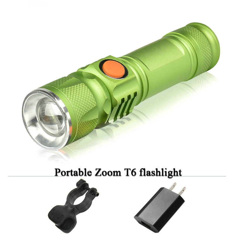 Mini CREE XM L T6 LED flashlight USB torch portable light rechargeable waterproof flash light 3000 lumen 18650 Built-in battery 2016 newest flashlight led cree xm l2 flash light 4 mode torch bike bicycle light outdoor lighting 18650 battery mount holder