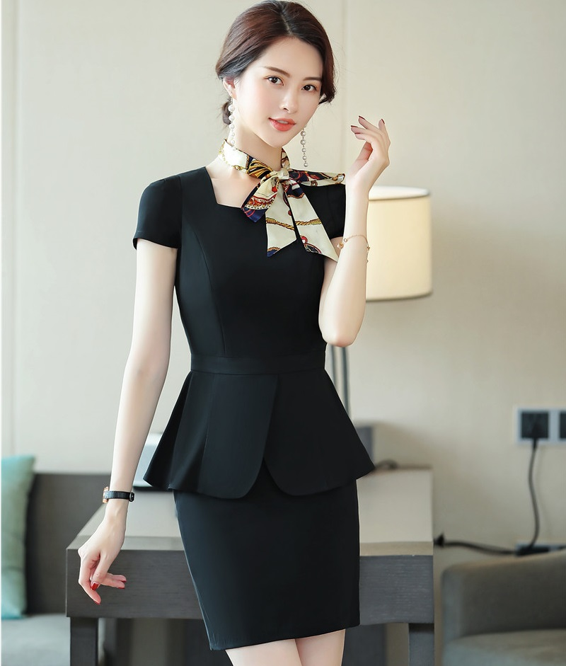Formal Uniform Styles Business Blazers 2 Piece Set With Tops And Skirt For Ladies Office Work Wear With Scarf 2019 Summer