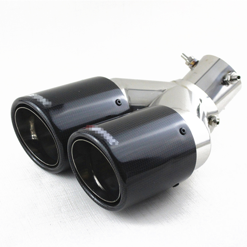 Universal 63mm Inlet 89mm Outlet Bent Straight Angle Adjustable Real Carbon Fiber Car SUV Dual Exhaust Pipe Tail Muffler TipUniversal 63mm Inlet 89mm Outlet Bent Straight Angle Adjustable Real Carbon Fiber Car SUV Dual Exhaust Pipe Tail Muffler Tip