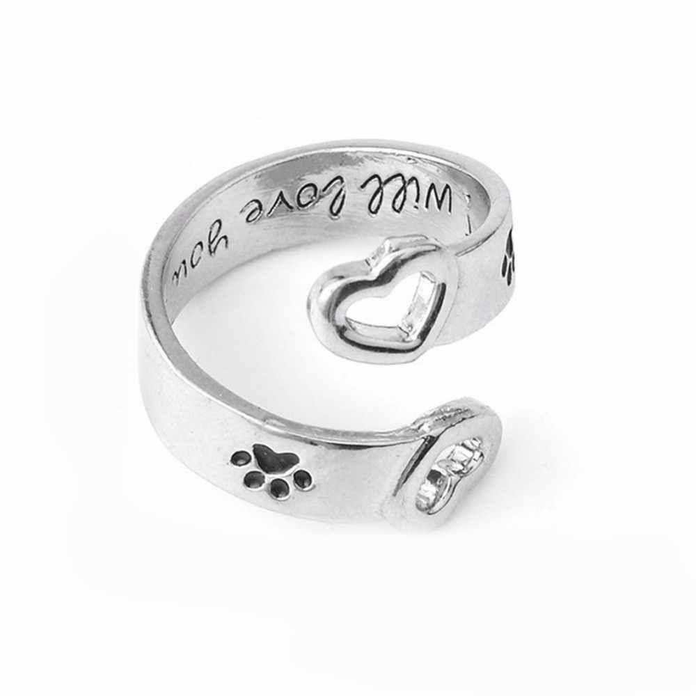 I Will Love You Forever ตัวอักษรโค้งสัตว์เลี้ยง Paw แหวนสุนัขแมว Memorial สีดำแหวนคู่เครื่องประดับ