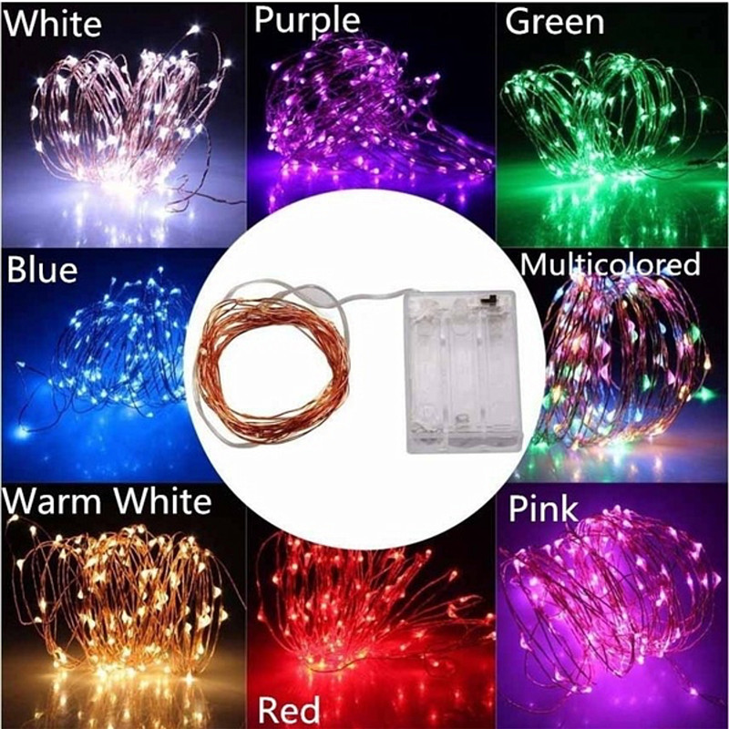 20 30 40 50 100 LED Holiday String AA Battery Lights Fairy Micro LED Transparent Silver Copper Wire For Party Christmas Wedding