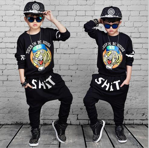 Boys Fashion Tracksuits 100% Cotton 2017 Autumn Printed Tiger Coat+Pants Kids Hip Hop Sports Outfits Children's CLothing Sets high quality mens jeans ripped colorful printed demin pants slim fit straight casual classic hip hop trousers ripped streetwear