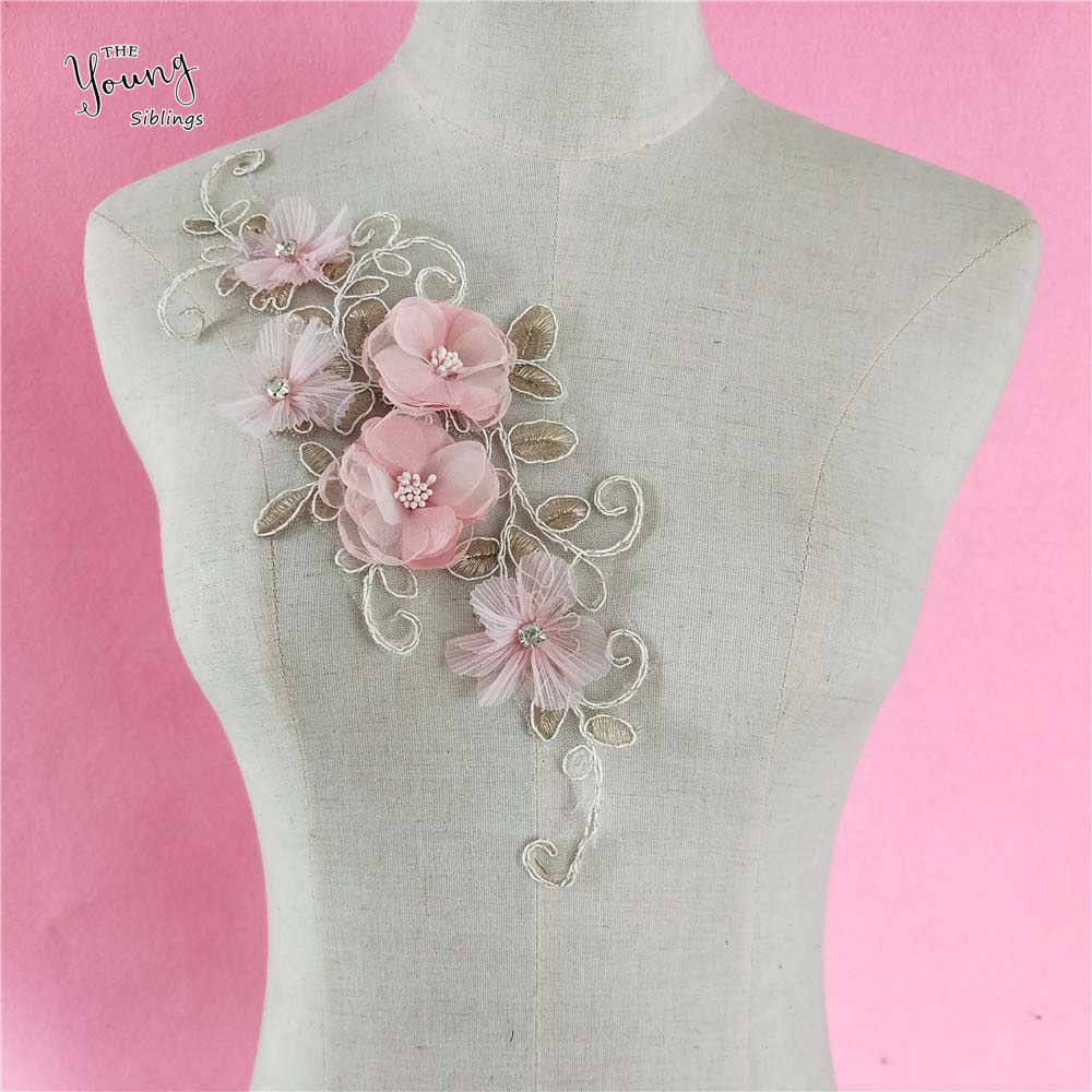 Pink flower Craft embellishment Garment motif Design Embroidery Neckline Lace Collar DIY Sewing Trim applique fabric Accessories