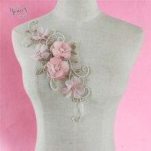 Rosa flor artesanato enfeite vestuário motivo design bordado decote rendas colar diy costura guarnição applique tecido acessórios