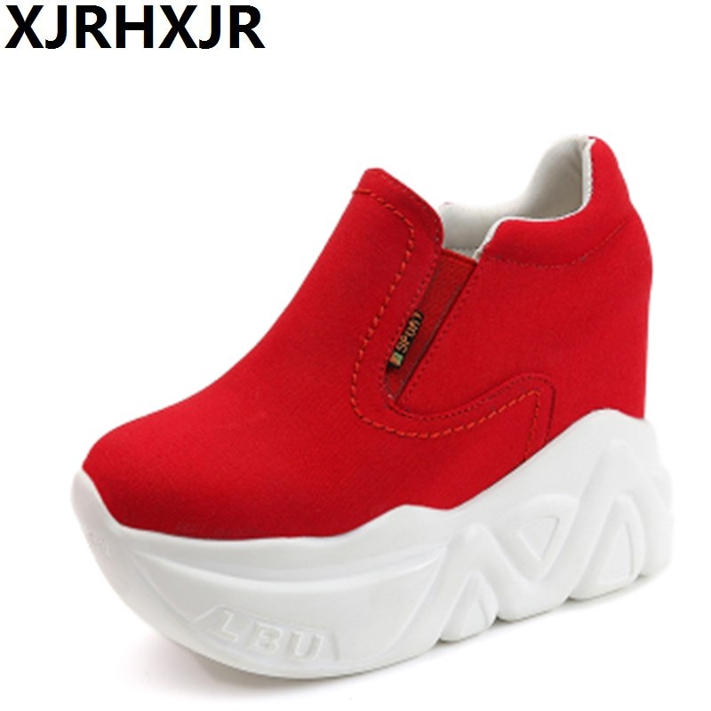 XJRHXJR Women Shoes 2019 Spring Autumn Woman Platforms Shoes Women Retro Shoes Woman 12 cm High Heels Height Increasing Boots in Women 39 s Pumps from Shoes