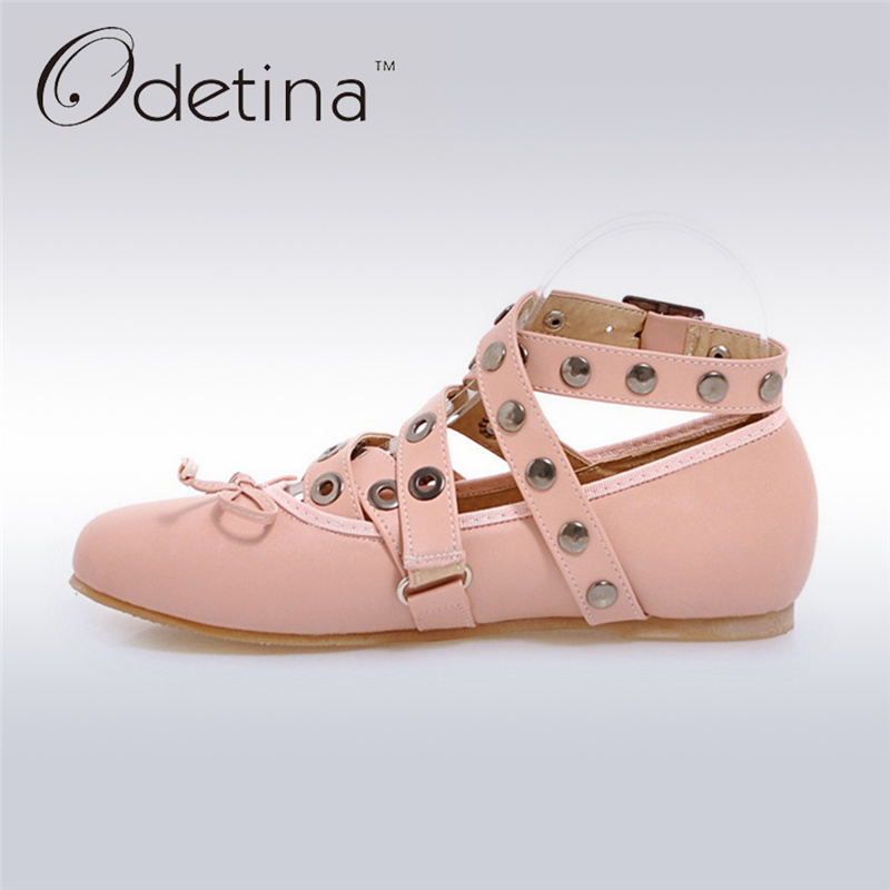 Odetina 2017 Spring Metal Ankle Straps Women Ballerina Flats Fashion Pink Ladies Round Toe Flat Shoes Large Size Womens Flats beyarne rivets decoration brand shoes flats women spring autumn fashion womens flats boat shoes sexy ladies plus size 11