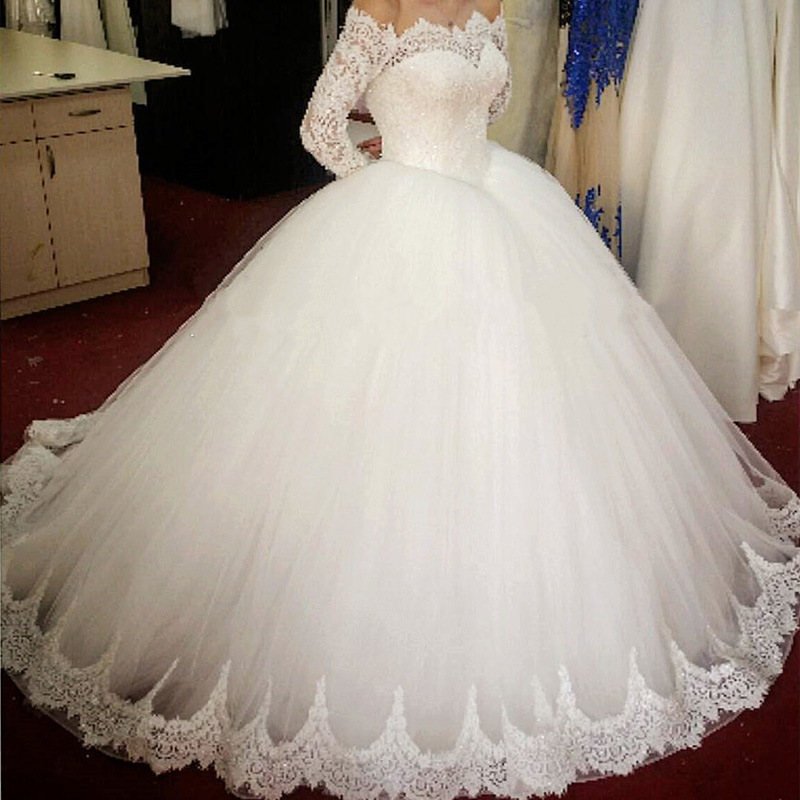White Long Sleeves Boat Neck Luxury Ball Gown Wedding Dress Dubai Arabic Sofuge Gelinlik 2019 Boho Suknia Slubna