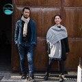 LinenAll шарфы 100% ручной хлопка индиго натуральный краситель х завод синий индиго шарфы платки женщина или мужчина 45x180 см