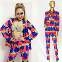 New Female Singer Colorful Stage DS Costume Nightclub Rave Party Outfit Women Singer GoGo Dancer Pole/Jazz Dance Wear DQL810
